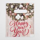 Пакет «Новогодний венок», полиэтиленовый с вырубной ручкой, 17 × 20 см, 30 мкм - фото 308983671