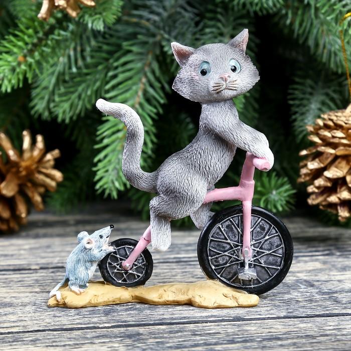 """Сувенир полистоун миниатюра """"Котик на велосипеде"""" 9,5х9х3 см"""