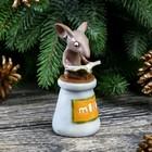 """Сувенир полистоун миниатюра """"Мышонок с книгой на бутылке молока"""" 9х4,3х4,3 см"""