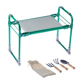 Скамейка-Перевертыш садовая складная зеленая, с набором садовых инструментов