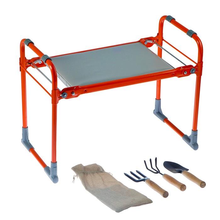 Скамейка-Перевертыш садовая складная оранжевая, с набором садовых инструментов