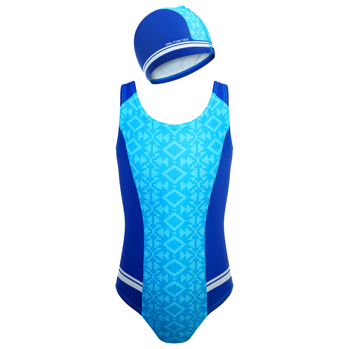 Комплект для плавания детский (купальник+шапочка), размер 32, рост 122 см