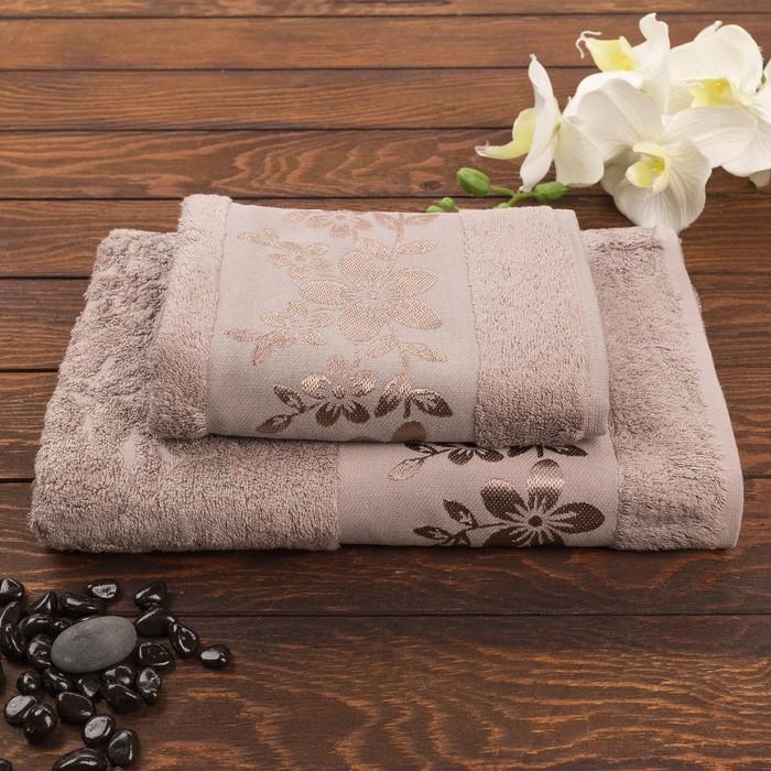 Комплект махровых полотенец в коробке Fiesta Verona, 70х130, 50х90 см, коричневый, бамбук