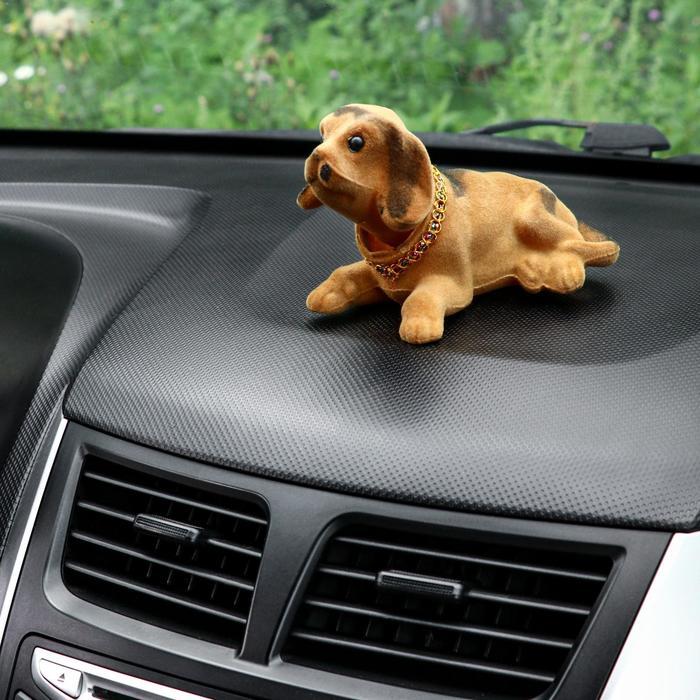 Собака на панель авто, качающая головой, большая, бежевый окрас