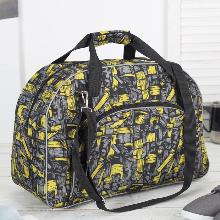 Сумка дорожная, отдел на молнии, наружный карман, цвет чёрный/жёлтый