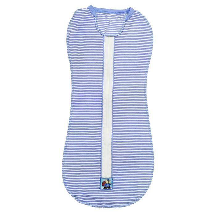 Пеленка-кокон на молнии, цвет голубой, рост 62 см, интерлок