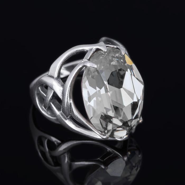 """Кольцо """"Солтан"""", размер 17, цвет белый в серебре"""