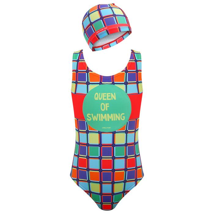 Комплект для плавания детский (купальник+шапочка), размер 32, рост 122 см - фото 105467431