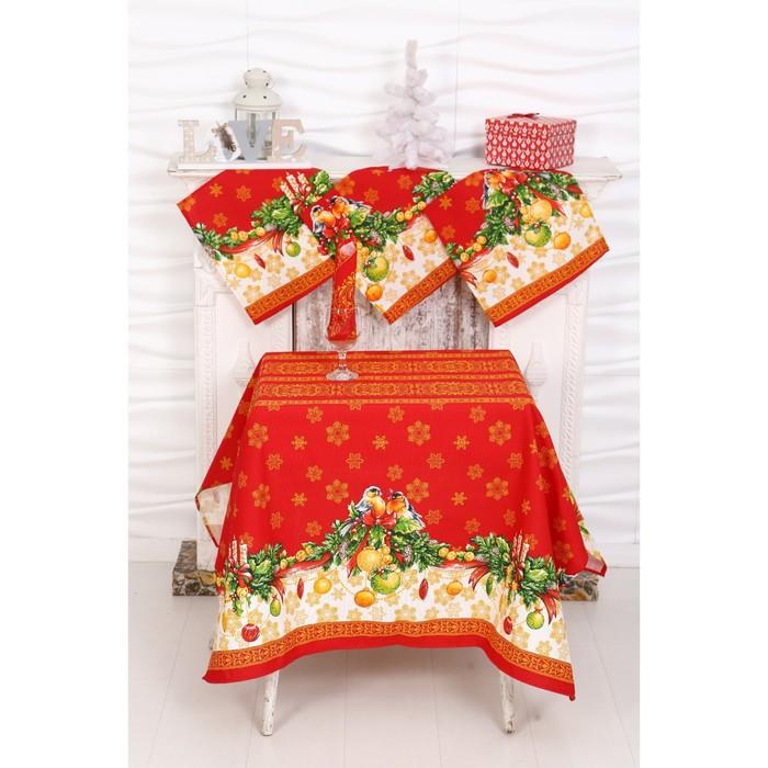 Столовый набор рогожка DomoVita Рождество скатерть 110х150 4 салф 30х30 см, хл, 170 г/м2