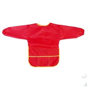 Фартук-накидка с рукавами для труда, 610 х 440 мм, Calligrata, 3 кармана, красный, рост 120-140 см, длина рукава 34 см