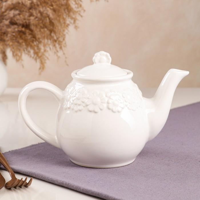 "Чайник для заварки ""Ромашка"", белый, 0.9 л"