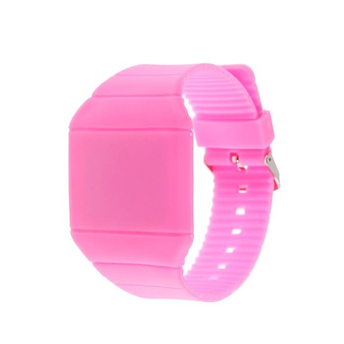 Часы электронные с LED подсветкой, силиконовые, розовые