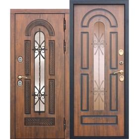 Дверь входная 13 см VITRA Винорит Патина Грецкий орех 2050x960 (левая)