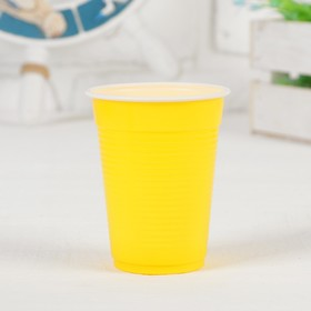 Cups plastic 200 ml, set of 6 PCs, color: yellow