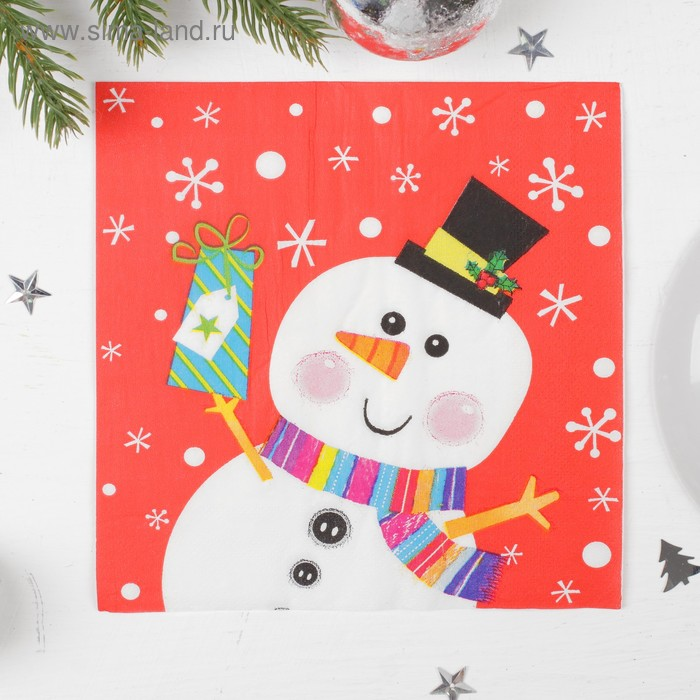 "Napkins paper ""Snowman with gift"" 33х33 cm, set of 20 PCs"