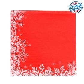 Салфетки бумажные «Снежинки на красном», 33х33 см, набор 20 шт. в Донецке