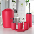 """Набор для ванной, 6 предметов """"Тринити"""", цвет красный"""