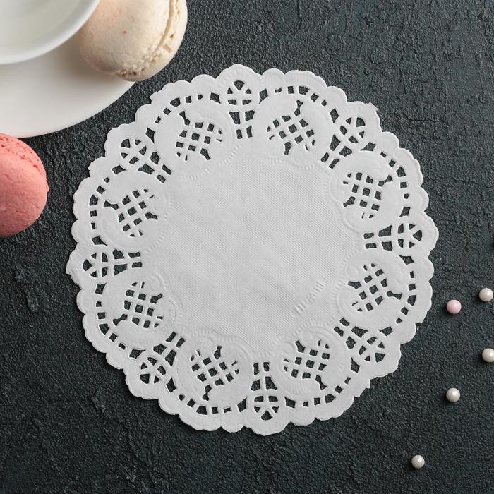 """Салфетка для торта и десерта 14 см """"Ажурный круг"""", цвет белый - фото 308985496"""