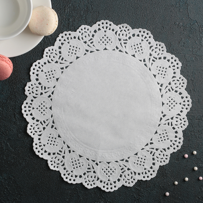 """Салфетка для торта и десерта 24 см """"Ажурный круг"""", цвет белый - фото 285293099"""