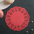 "Napkin for cake and dessert 10 cm ""Openwork circle"", color: red"
