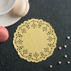 "Napkin for cake and dessert 10 cm ""Openwork circle"", color: yellow"