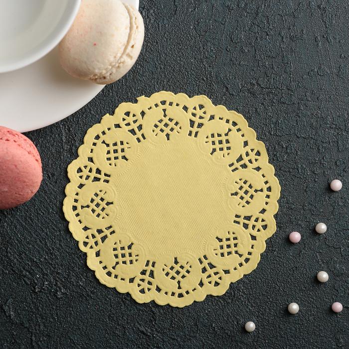 """Салфетка для торта и десерта 10 см """"Ажурный круг"""", цвет жёлтый - фото 308985510"""