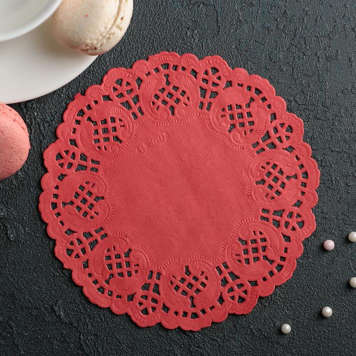"""Салфетка для торта и десерта 14 см """"Ажурный круг"""", цвет красный - фото 308985512"""