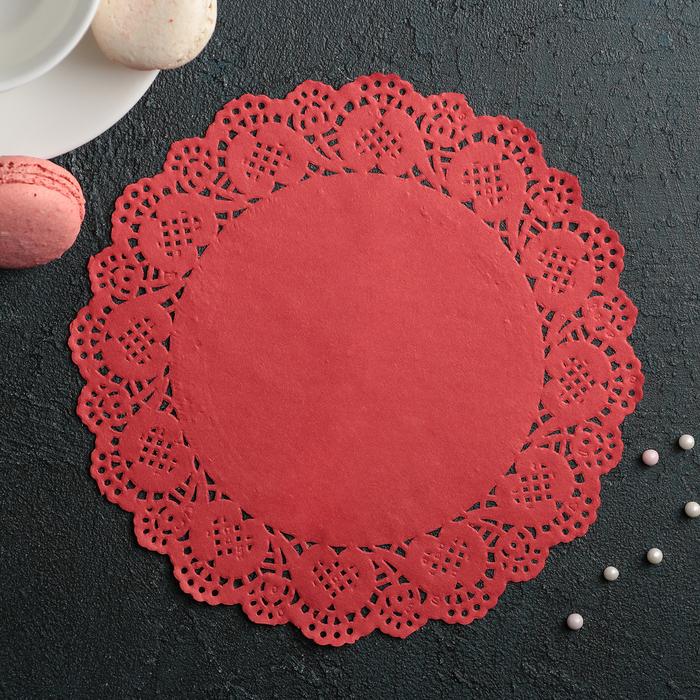 """Салфетка для торта и десерта 19 см """"Ажурный круг"""", цвет красный - фото 308985516"""