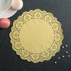 """Napkin for cake and dessert 19 cm """"Openwork circle"""", color: yellow"""