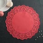 """Салфетка для торта и десерта 24 см """"Ажурный круг"""", цвет красный - фото 308985520"""