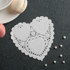 """Napkin for cake and dessert 10×10 cm """"carved heart"""", white"""