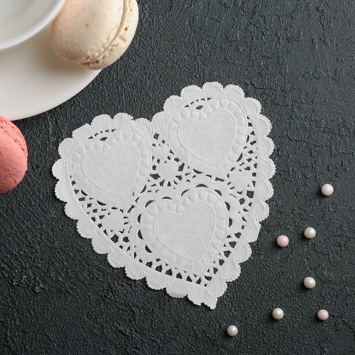 """Салфетка для торта и десерта 10×10 см """"Ажурное сердце"""", цвет белый - фото 308985498"""