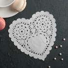"Napkin for cake and dessert 14×14 cm ""carved heart"", white"
