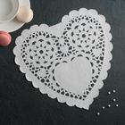 """Napkin for cake and dessert 25,4×25,4 cm """"carved heart"""", white"""