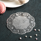 """Napkin for cake and dessert 10 cm """"Openwork circle"""", color: silver"""