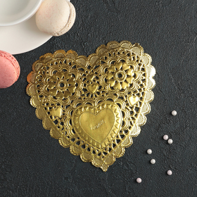 "Napkin for cake and dessert 14×14 cm ""filigree heart"" of the color gold"