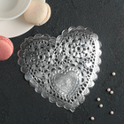 """Napkin for cake and dessert 14×14 cm """"carved heart"""", colour silver"""
