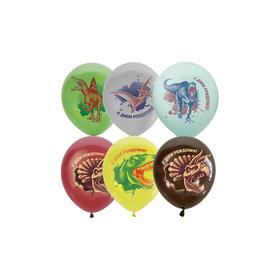 """Шар латексный 12"""" «С днём рождения!», динозавры, 1-сторонний, набор 25 шт., МИКС"""