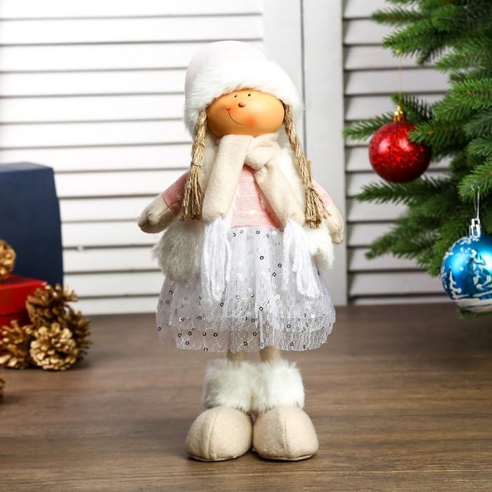 """Кукла интерьерная """"Девочка в юбке с пайетками, белой жилетке и розовом колпаке"""" 48х10х15см"""