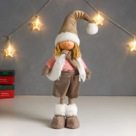 """Кукла интерьерная """"Мальчик в белой жилетке и бежевом колпаке"""" 48х10х15 см"""