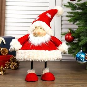 """Кукла интерьерная """"Дедушка Мороз в красном кафтане и колпаке со снежинками"""" 44х21х31 см"""