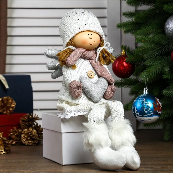 """Кукла интерьерная """"Ангелочек Мила с сердцем в белом наряде, в розовых варежках"""" 60х11х12 см"""
