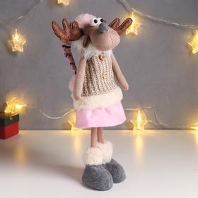 """Кукла интерьерная """"Лосяша в бежевом жилете и розовом колпаке"""" 52х13х15 см"""
