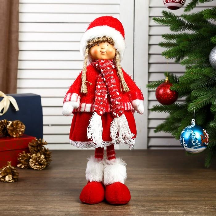 """Кукла интерьерная """"Девочка Валя в красном наряде, в шапке с бомбошкой"""" 38х12х17 см"""