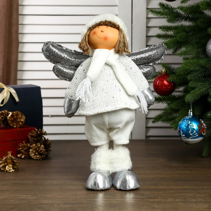 """Кукла интерьерная """"Ангелочек Веня в белом наряде, в серебристых сапожках"""" 54х13х19 см - фото 105497942"""