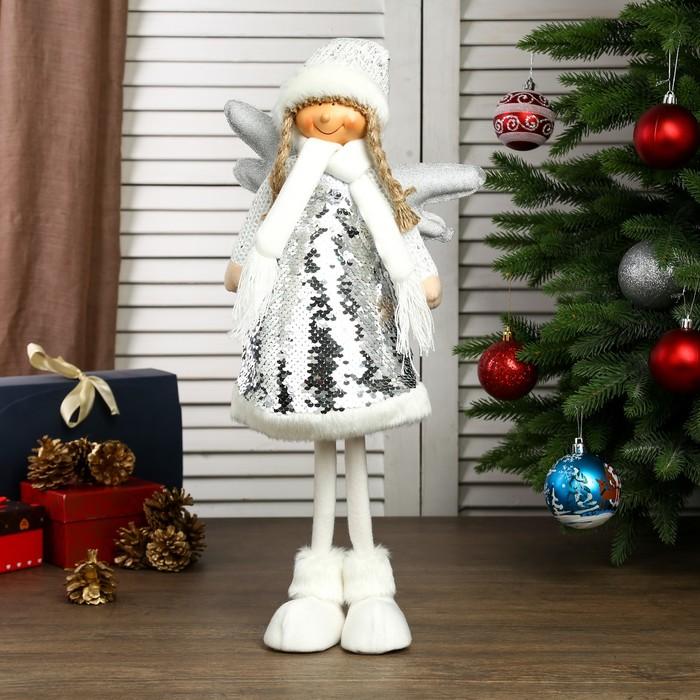 """Кукла интерьерная """"Ангелочек Зося в платье с серебристыми пайетками"""" 60х16х20 см"""