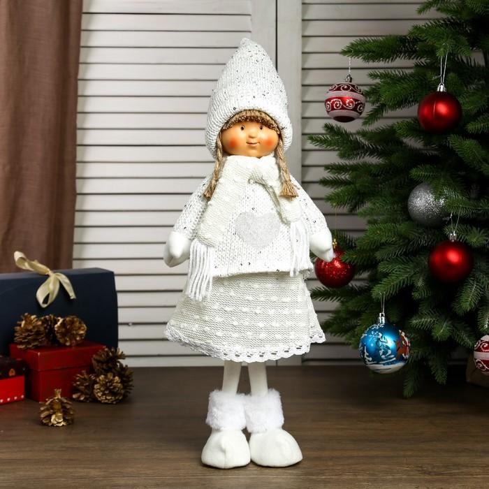 """Кукла интерьерная """"Девочка Валя в белом свитере с сердечком"""" 55х14х19 см"""