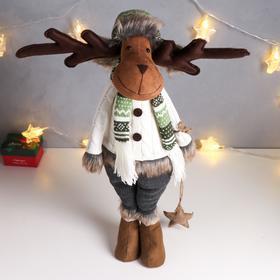 """Кукла интерьерная """"Лосик в шапке-ушанке и в белом свитере"""" 60х20х22 см"""