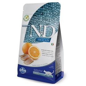 Сухой корм Farmina N&D Ocean беззерновой для кошек, сельдь/апельсин, 300 г