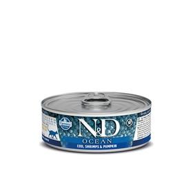 Влажный корм Farmina N&D Cat Ocean для кошек треска/креветки/тыква, 80 г